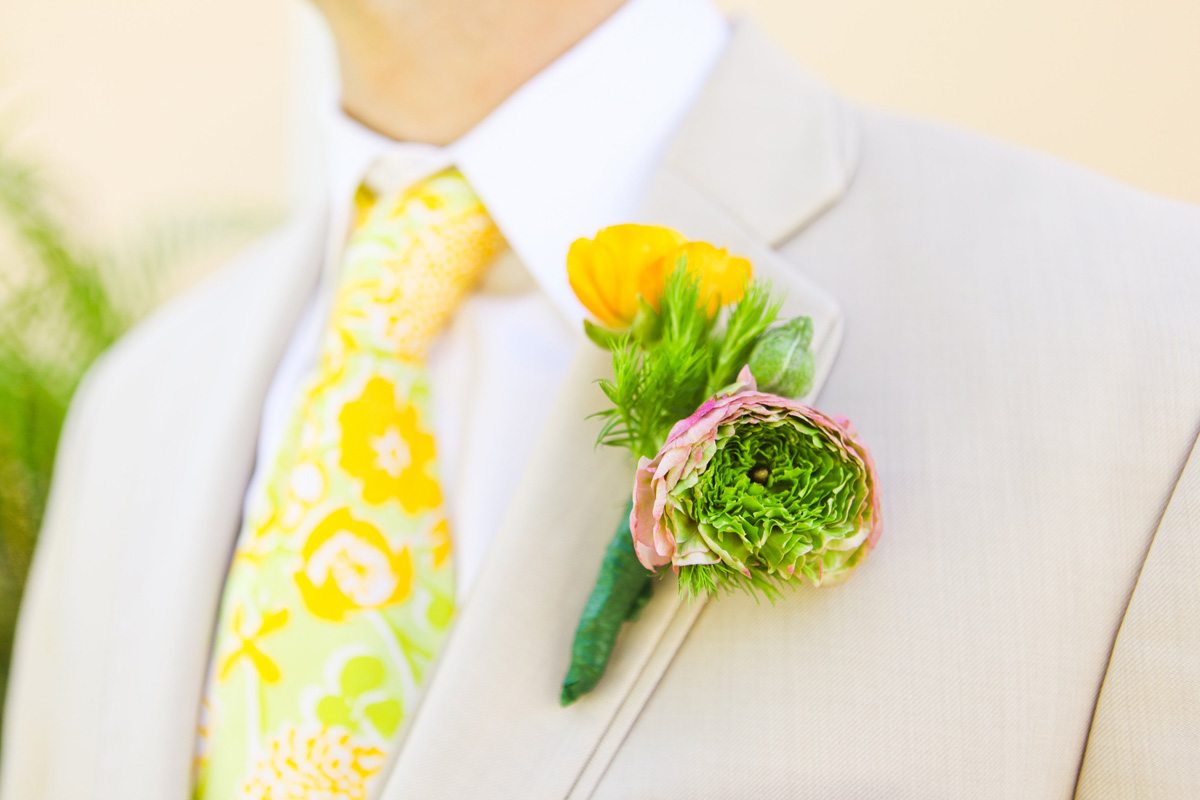 Vintage Yellow Lilly Pulitzer Tie with Elegant Lilly Pulitzer Inspired Groom Boutineer with Orange, Yellow and Pink Flowers | The Majestic Vision Wedding Planning | The Colony Hotel in Palm Beach, FL | www.themajesticvision.com | Krystal Zaskey Photography
