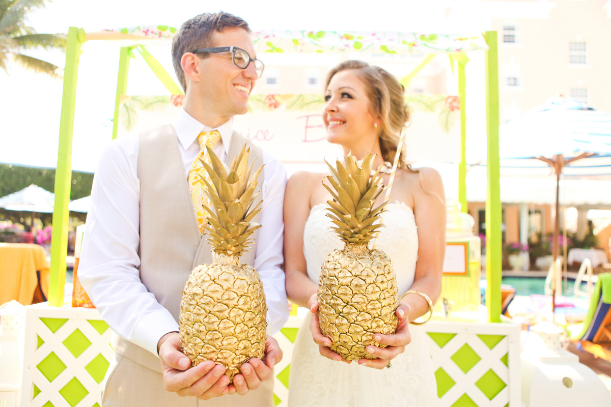 Elegant Lilly Pulitzer Inspired Juice Stand with Golden Pineapples | The Majestic Vision Wedding Planning | The Colony Hotel in Palm Beach, FL | www.themajesticvision.com | Krystal Zaskey Photography