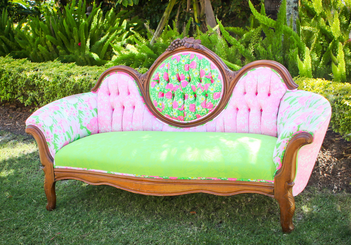 Elegant Lilly Pulitzer Couch with Vintage Lilly Pulitzer Fabric | The Majestic Vision Wedding Planning | The Colony Hotel in Palm Beach, FL | www.themajesticvision.com | Krystal Zaskey Photography
