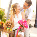 Elegant Bridal Portrait on Vintage Bamboo Bikes on Worth Avenue at The Colony Hotel in Palm Beach, FL thumbnail