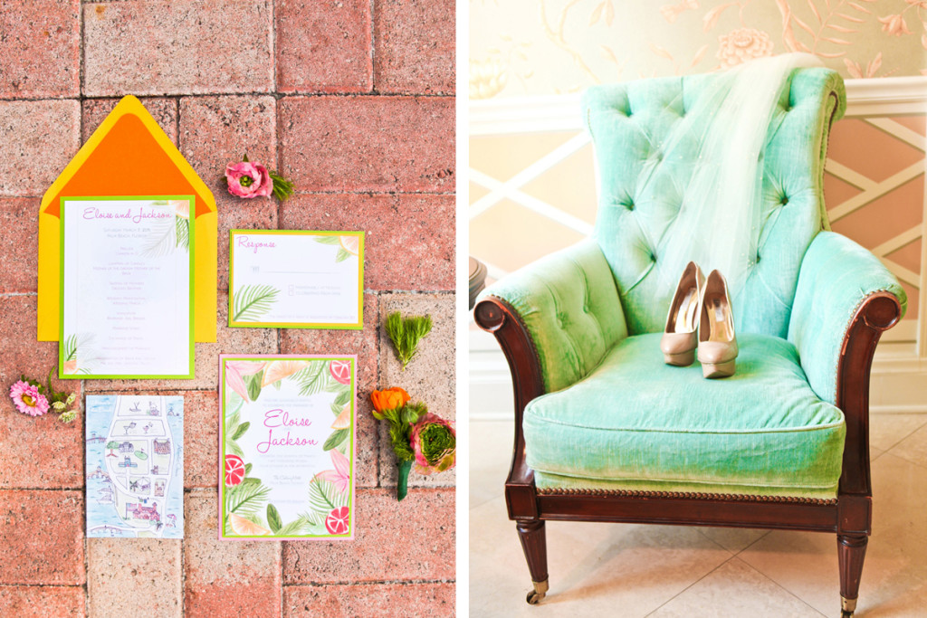 Elegant Lilly Pulitzer Inspired Palm Tree Wedding Invitation | The Majestic Vision Wedding Planning | The Colony Hotel in Palm Beach, FL | www.themajesticvision.com | Krystal Zaskey Photography