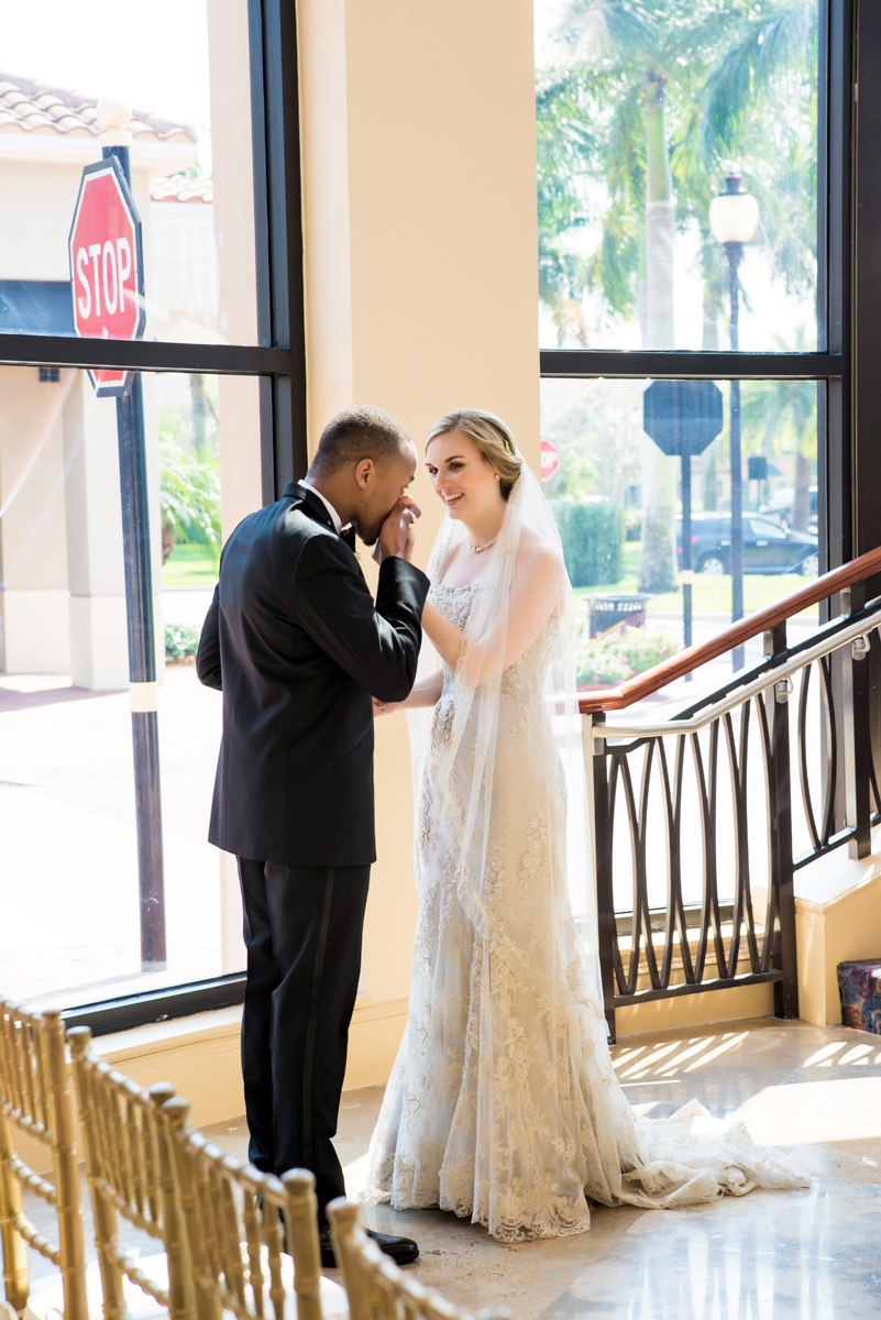 Sweet First Look between Interracial Couple | The Majestic Vision Wedding Planning | The Borland Center in Palm Beach, FL | www.themajesticvision.com | Enduring Impressions Photography