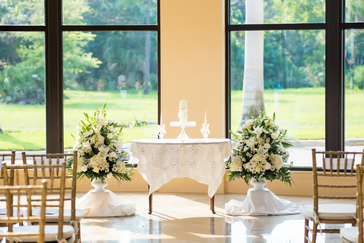 Elegant White on White Wedding Ceremony | The Majestic Vision Wedding Planning | The Borland Center in Palm Beach, FL | www.themajesticvision.com | Enduring Impressions Photography