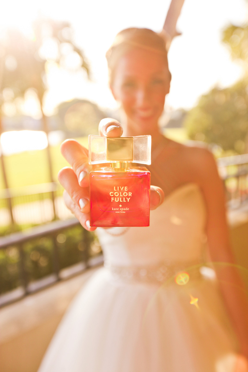 Elegant Kate Spade Live Colorfully Perfume Bottle | The Majestic Vision Wedding Planning | Breakers West in Palm Beach, FL | www.themajesticvision.com | Krystal Zaskey Photography