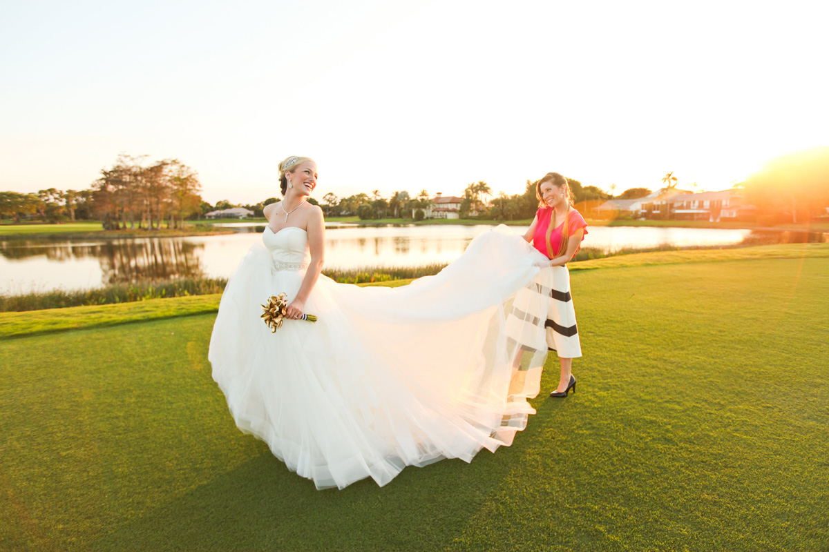 Bride and Bridesmaid About to Walk Down the Aisle | The Majestic Vision Wedding Planning | Breakers West in Palm Beach, FL | www.themajesticvision.com | Krystal Zaskey Photography