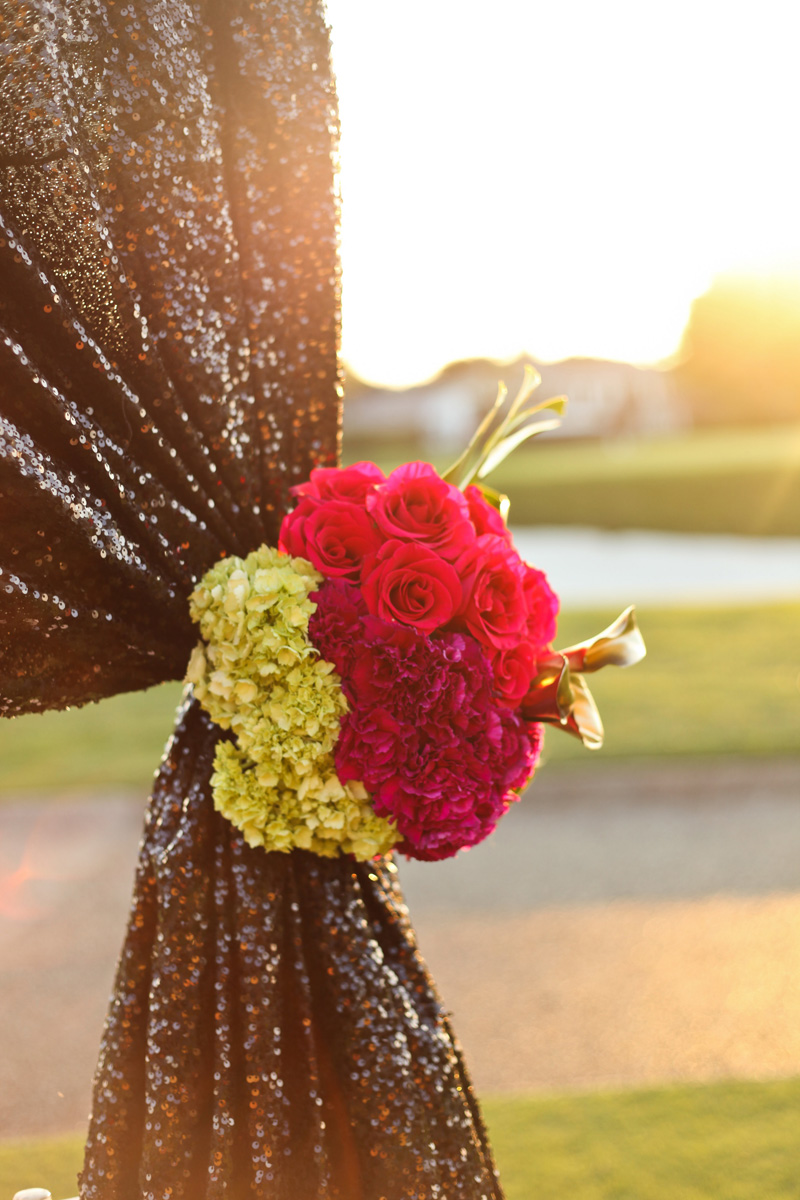 Modern Red Rose, Green Hydrangea and Gold Tulip on Black Glitter Wedding Arch | The Majestic Vision Wedding Planning | Breakers West in Palm Beach, FL | www.themajesticvision.com | Krystal Zaskey Photography