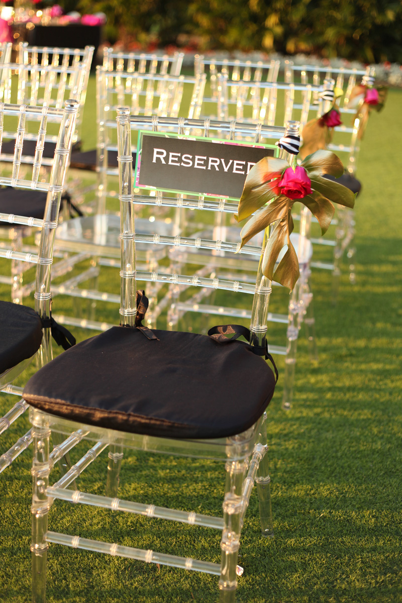 Kate Spade Inspired Wedding Ceremony Reserved Seat Sign | The Majestic Vision Wedding Planning | Breakers West in Palm Beach, FL | www.themajesticvision.com | Krystal Zaskey Photography