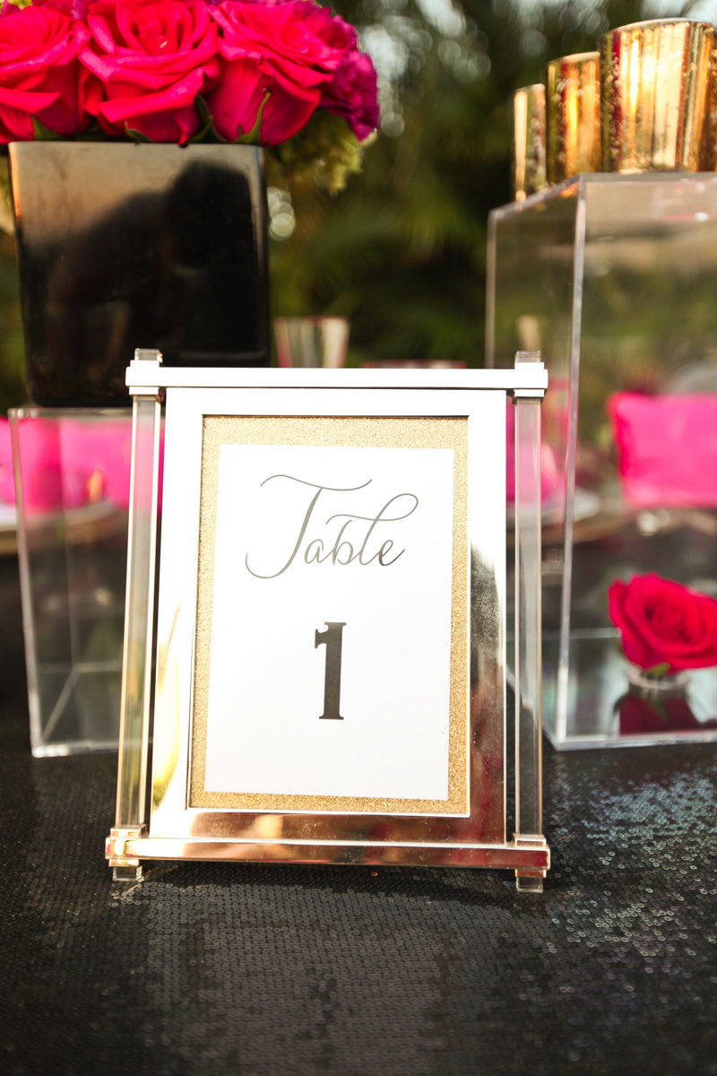 Kate Spade Inspired Modern Wedding Table Number | The Majestic Vision Wedding Planning | Breakers West in Palm Beach, FL | www.themajesticvision.com | Krystal Zaskey Photography