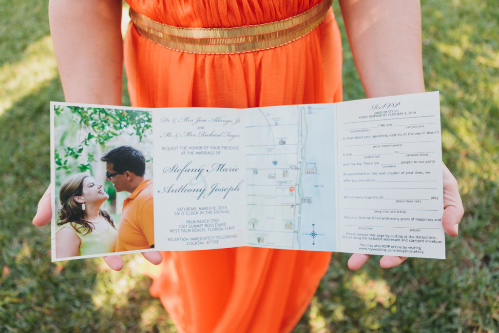 Quad-fold Wedding Invitation with Custom Map and RSVP Mad Lib | The Majestic Vision Wedding Planning | Palm Beach Zoo in Palm Beach, FL | www.themajesticvision.com | Robert Madrid Photography