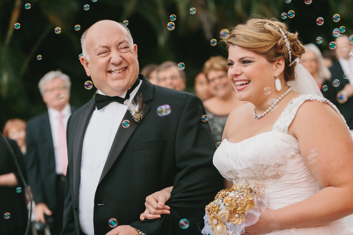 Joyous Father Daughter Portrait with Bubbles | The Majestic Vision Wedding Planning | Palm Beach Zoo in Palm Beach, FL | www.themajesticvision.com | Robert Madrid Photography