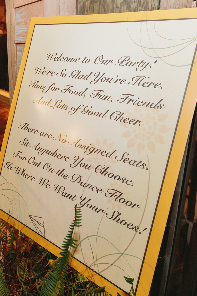 Elegant Open Seating Reception Sign   The Majestic Vision Wedding Planning   Palm Beach Zoo in Palm Beach, FL   www.themajesticvision.com   Robert Madrid Photography