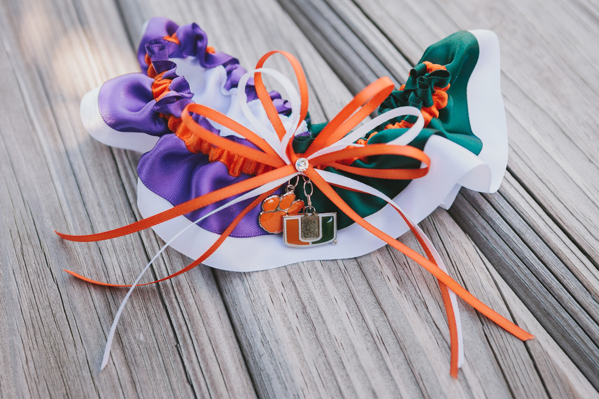 University of Miami Garter and Clemson University Garter | The Majestic Vision Wedding Planning | Palm Beach Zoo in Palm Beach, FL | www.themajesticvision.com | Robert Madrid Photography