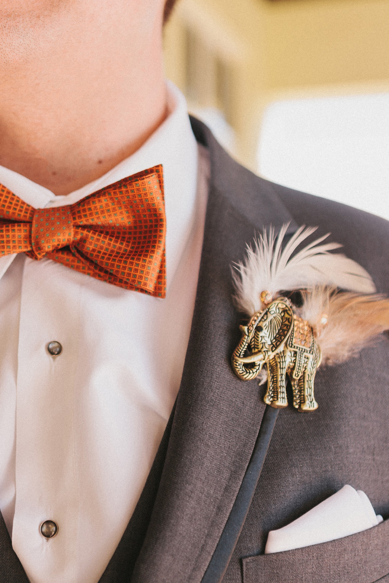 Unique Elephant Brooch Boutineer | The Majestic Vision Wedding Planning | Palm Beach Zoo in Palm Beach, FL | www.themajesticvision.com | Robert Madrid Photography