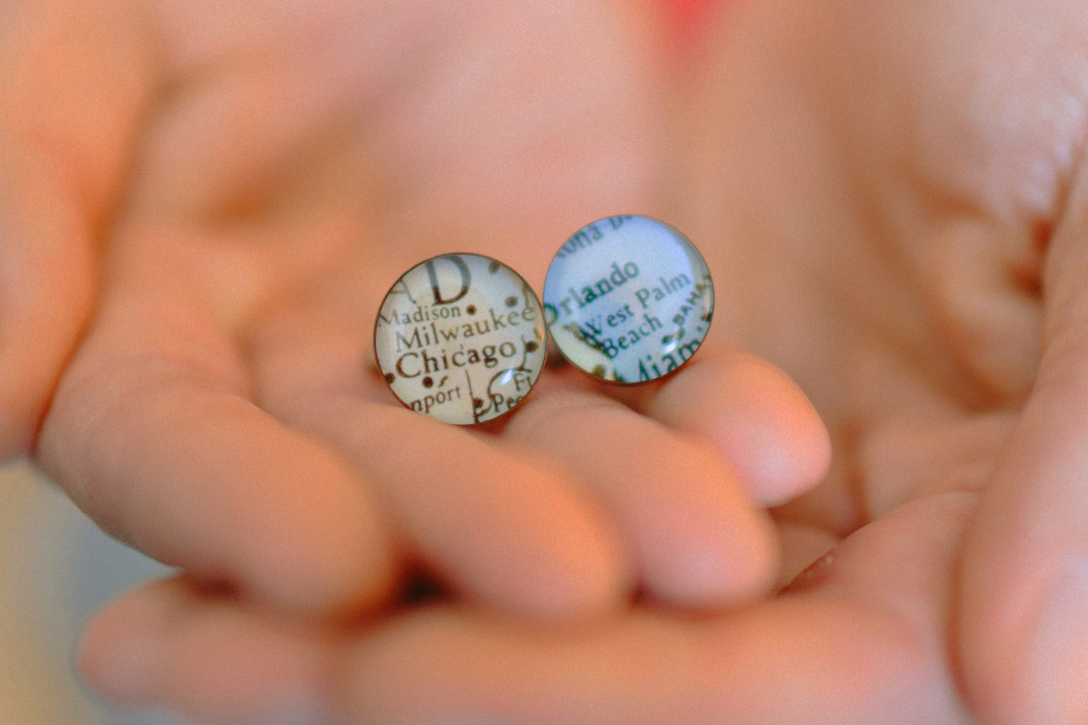 Map Cufflinks Perfect for a Long Distance Couple | The Majestic Vision Wedding Planning | Palm Beach Zoo in Palm Beach, FL | www.themajesticvision.com | Robert Madrid Photography