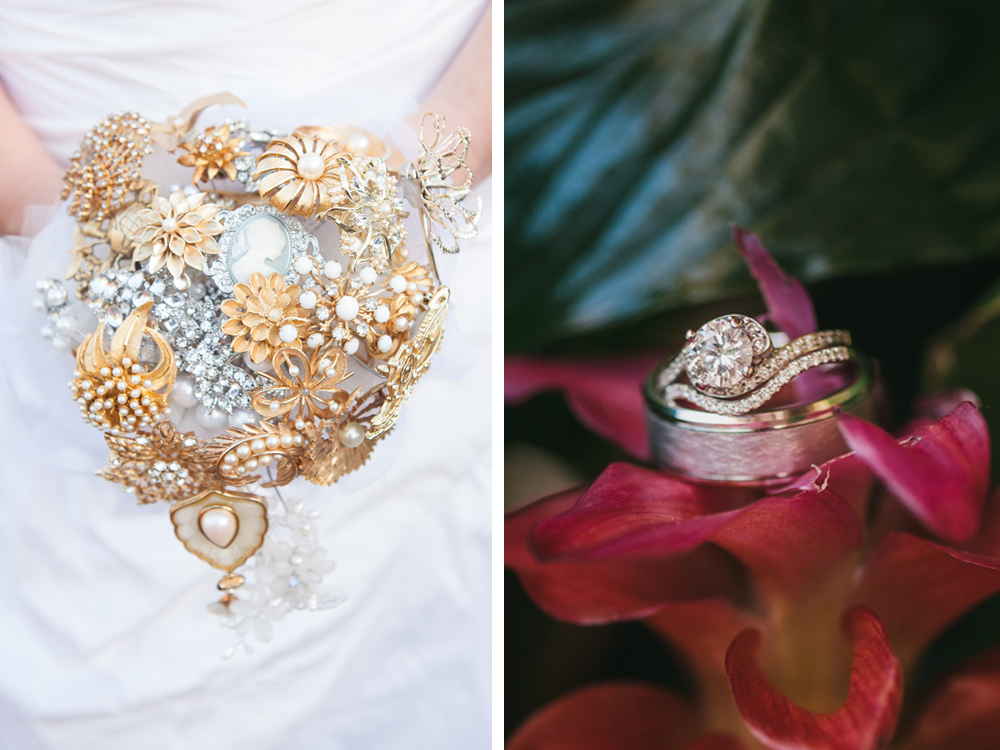 Stunning Brooch Bouquet and Wedding Rings | The Majestic Vision Wedding Planning | Palm Beach Zoo in Palm Beach, FL | www.themajesticvision.com | Robert Madrid Photography