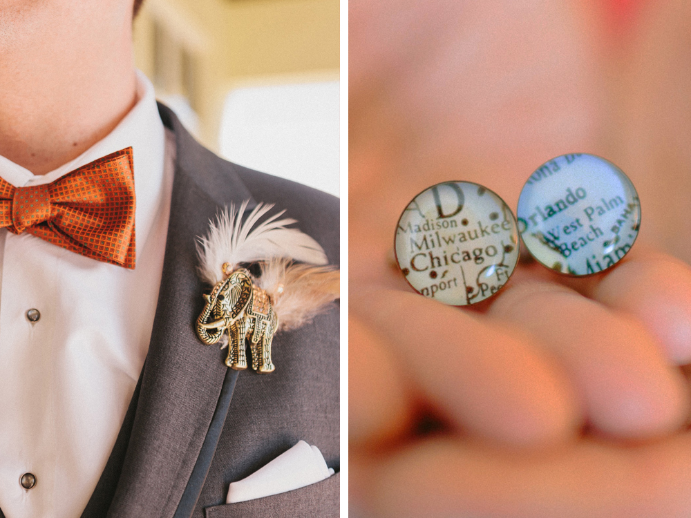 Unique Elephant Brooch Boutineer and Map Cufflinks | The Majestic Vision Wedding Planning | Palm Beach Zoo in Palm Beach, FL | www.themajesticvision.com | Robert Madrid Photography