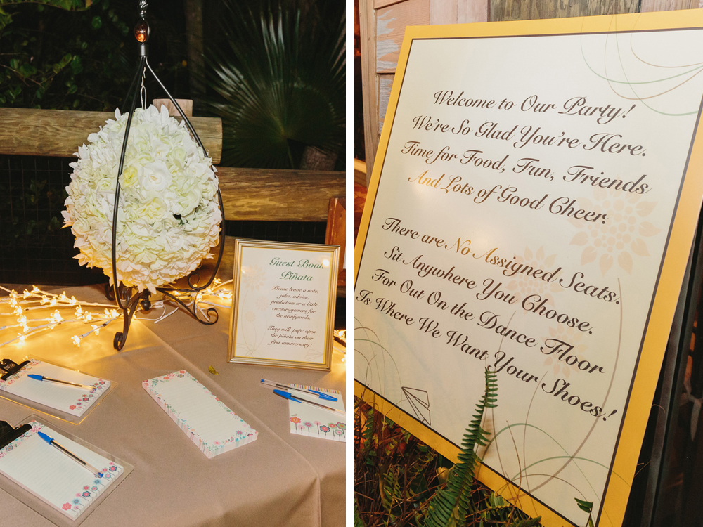 Unique Pinata Guestbook and Elegant Open Seating Reception Sign | The Majestic Vision Wedding Planning | Palm Beach Zoo in Palm Beach, FL | www.themajesticvision.com | Robert Madrid Photography