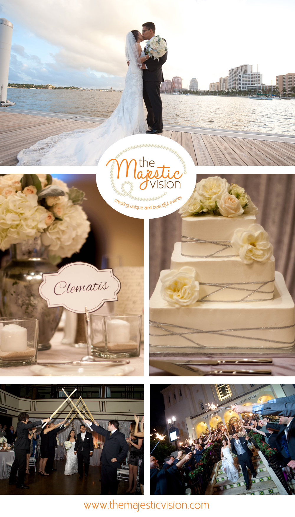 Elegant Silver and White Wedding | The Majestic Vision Wedding Planning |Harriet Himmel Theater in Palm Beach, FL | www.themajesticvision.com