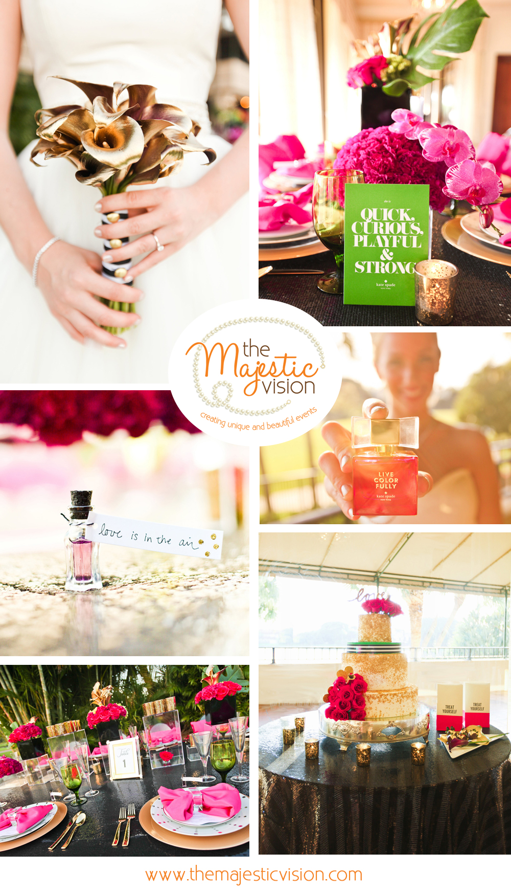 Modern and Elegant Kate Spade Inspired Pink, Gold and Black Glitter Wedding | The Majestic Vision Wedding Planning | Breakers West in Palm Beach, FL | www.themajesticvision.com | Krystal Zaskey Photography