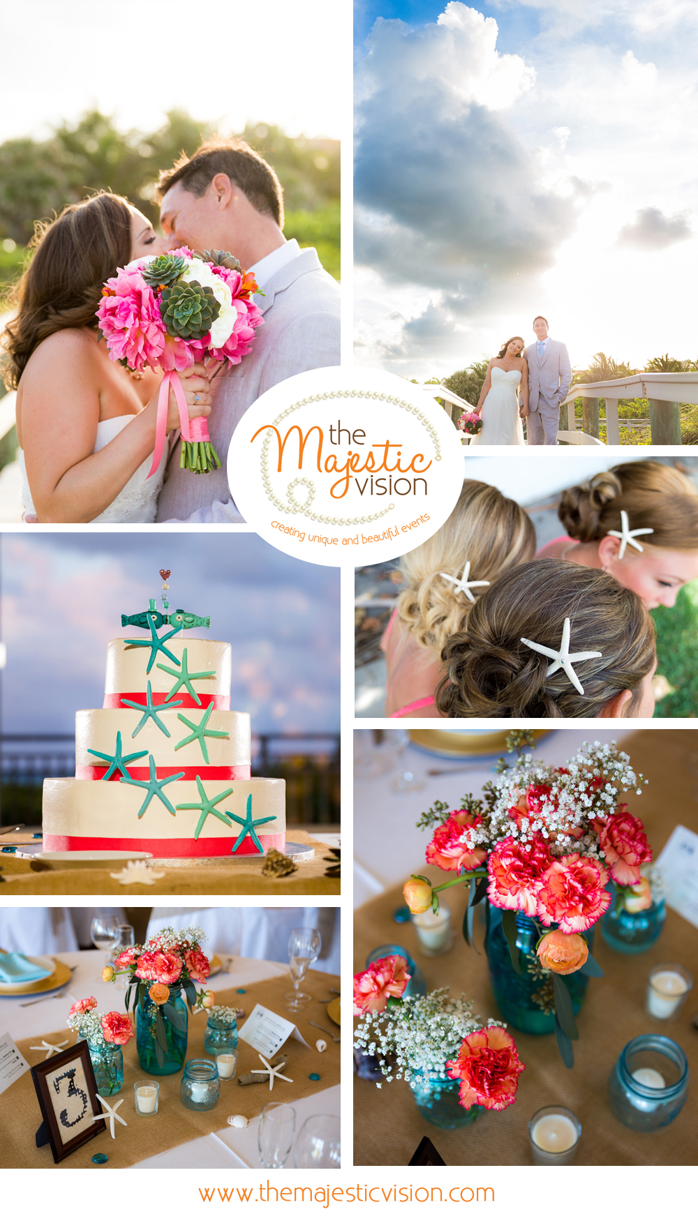 Rustic Coral and Burlap Beach Wedding | The Majestic Vision Wedding Planning | Palm Beach Shores Community Center in Palm Beach, FL | www.themajesticvision.com | Chris Kruger Photography