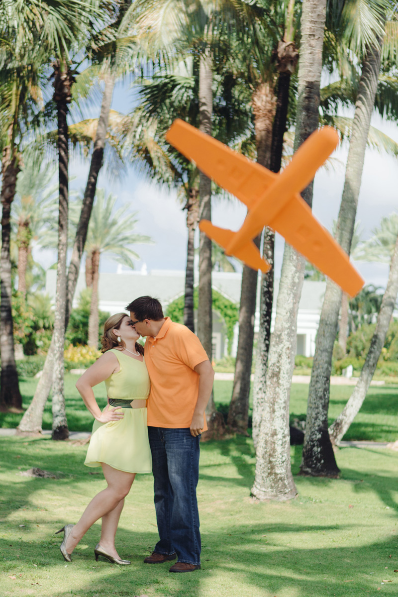 Travel Theme Engagement Session with Giant Foam Plane | The Majestic Vision Wedding Planning | Royal Poinciana Chapel in Palm Beach, FL | www.themajesticvision.com | Robert Madrid Photography