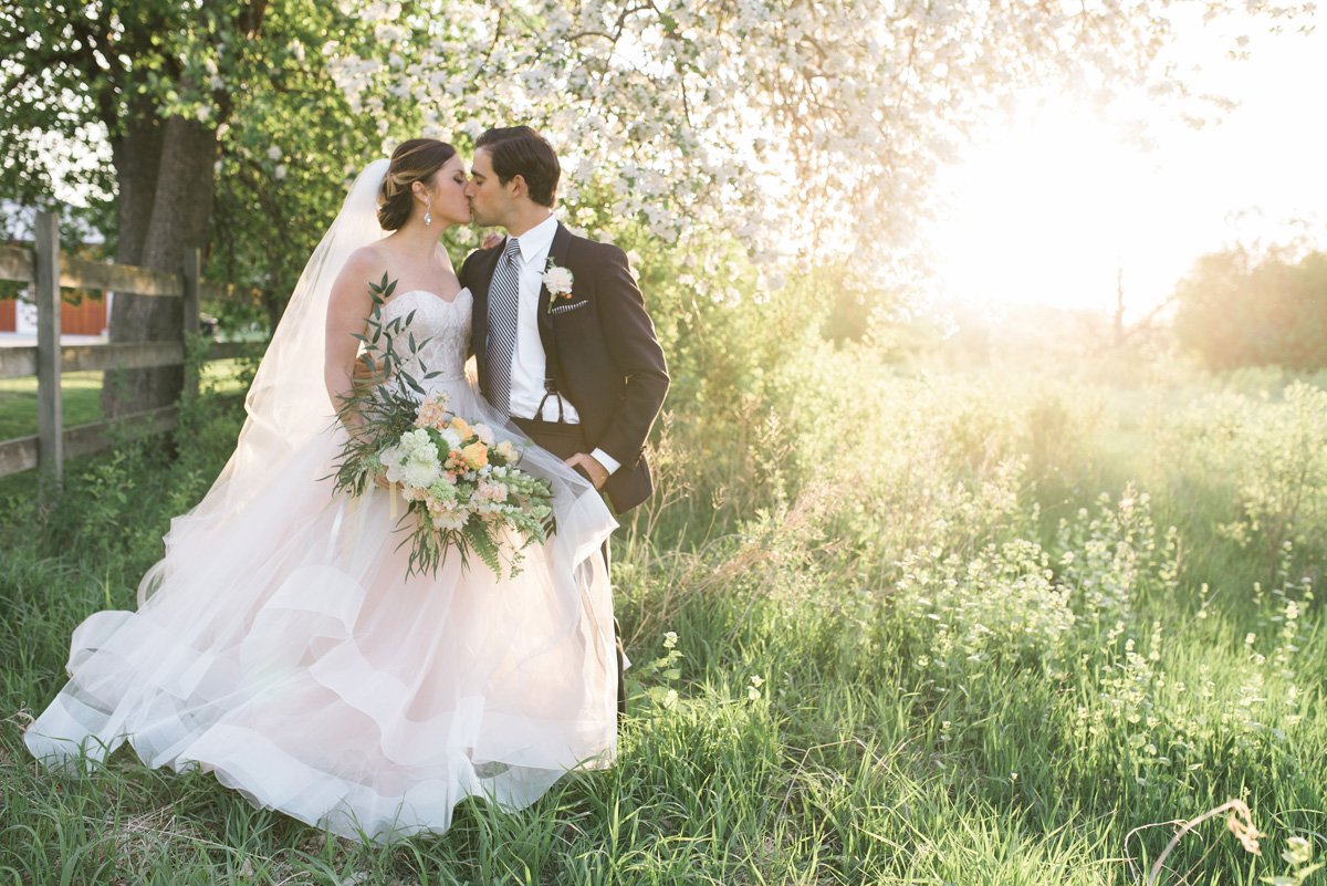 Beautiful Bride in Blush Tara Keely Gown With Handsome Groom   The Majestic Vision Wedding Planning   Rustic Manor in Milwaukee, WI   www.themajesticvision.com   Elizabeth Haase Photography