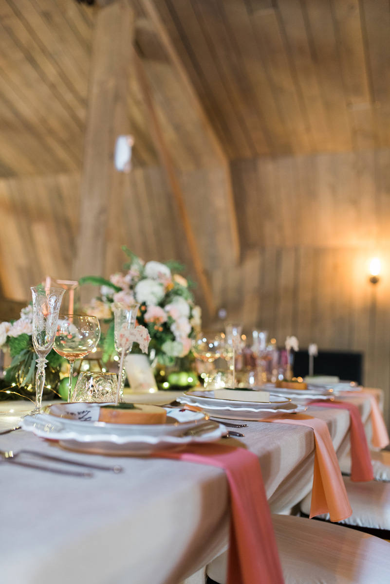 Elegant Blush and Pink Tablescape with Bronze Terrariums, Lush Greenery and Twinkle Lights | The Majestic Vision Wedding Planning | Rustic Manor in Milwaukee, WI | www.themajesticvision.com | Elizabeth Haase Photography