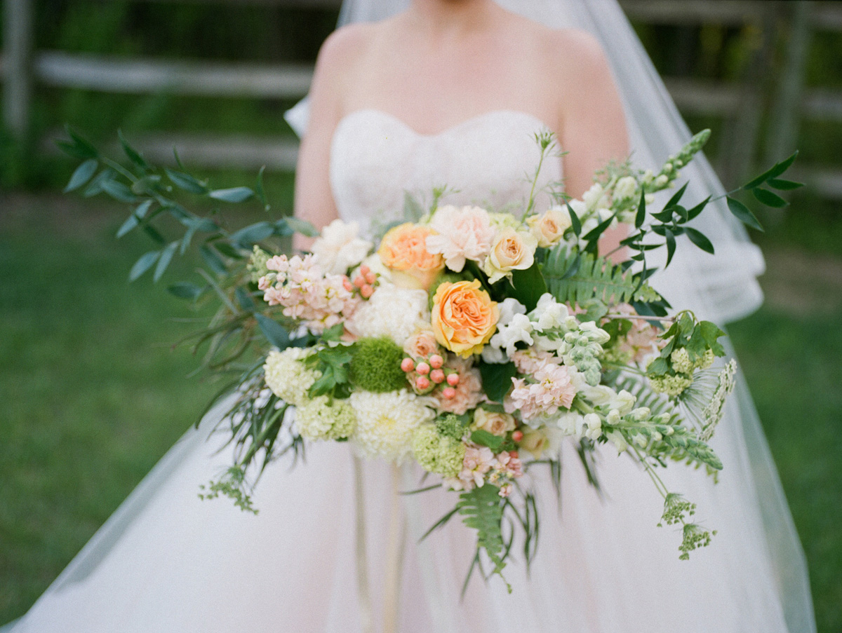 Elegant Bridal Bouquet with Cream, Blush and Pink Flowers | The Majestic Vision Wedding Planning | Rustic Manor in Milwaukee, WI | www.themajesticvision.com | Elizabeth Haase Photography