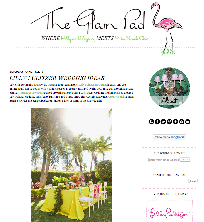 Elegant Lilly Pulitzer Inspired Wedding on Glam Pad | The Majestic Vision Wedding Planning | The Colony Hotel in Palm Beach, FL | www.themajesticvision.com | Krystal Zaskey Photography