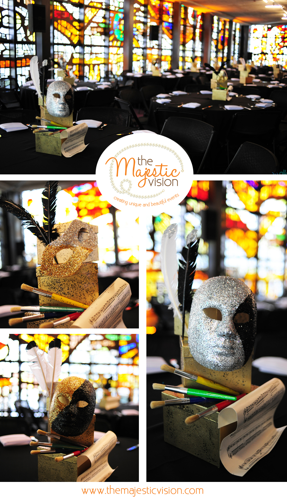 Theater Theme Centerpiece | The Majestic Vision Wedding Planning | YoungArts Foundation in Miami, FL | www.themajesticvision.com | Emily Allongo Photography